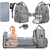 Diaper Bag Backpack with Changing Station, LOVEVOOK Baby Diaper Bag Travel Bassinet with USB Charging Port, Foldable Portable Crib Mommy Bags with Changing Pad and Pacifier Box(Light Grey)
