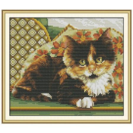 CoralStore - Kit de bordado de punto de cruz, diseño de gato ...