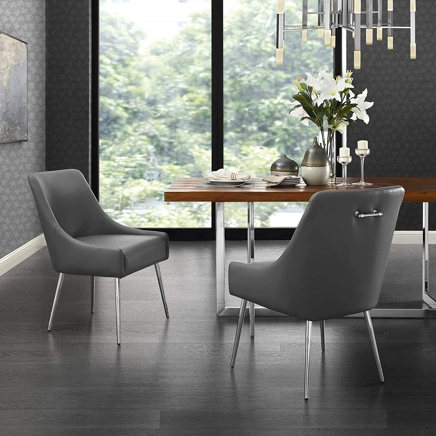 InspiredHome Grey Leather Dining Chair - Design: Christine | Armless | Set of 2 | Knob Handle | Stainless Steel Legs