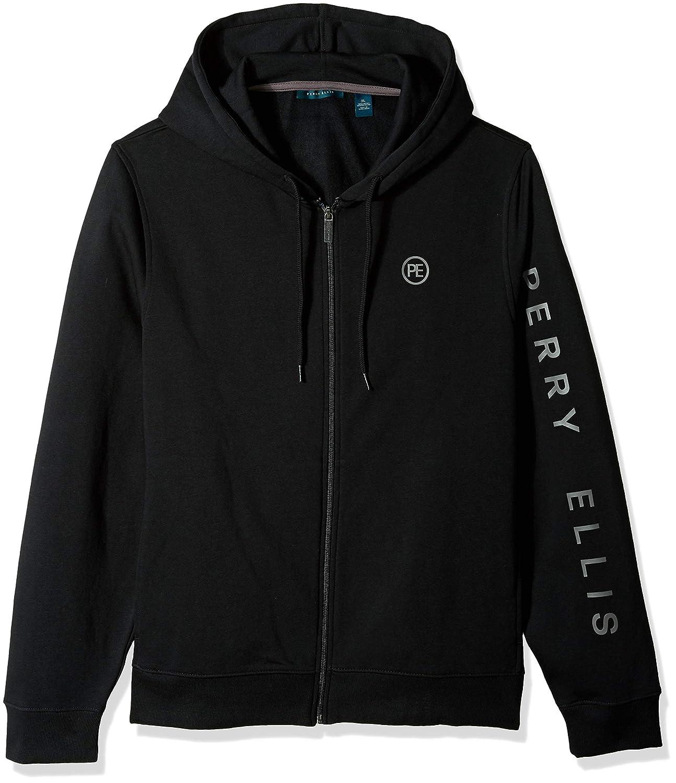 Perry Ellis Mens Signature Sleeve Logo Full Zip Hooded Sweatshirt