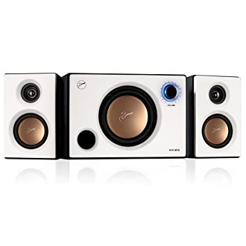 HIVI Acoustics 2.1 Speaker System - 31 W RMS - Black Pearl White M10 Speaker Systems at amazon