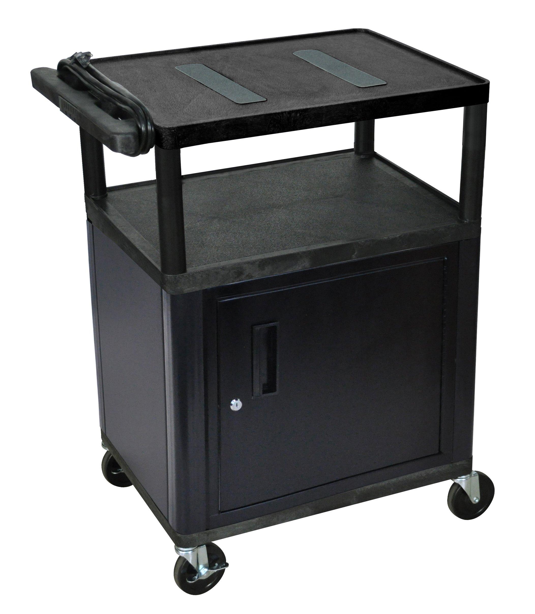 LUXOR LE34C-B Endura A/V Cart with Endura 3 Shelves and Cabinet, Black