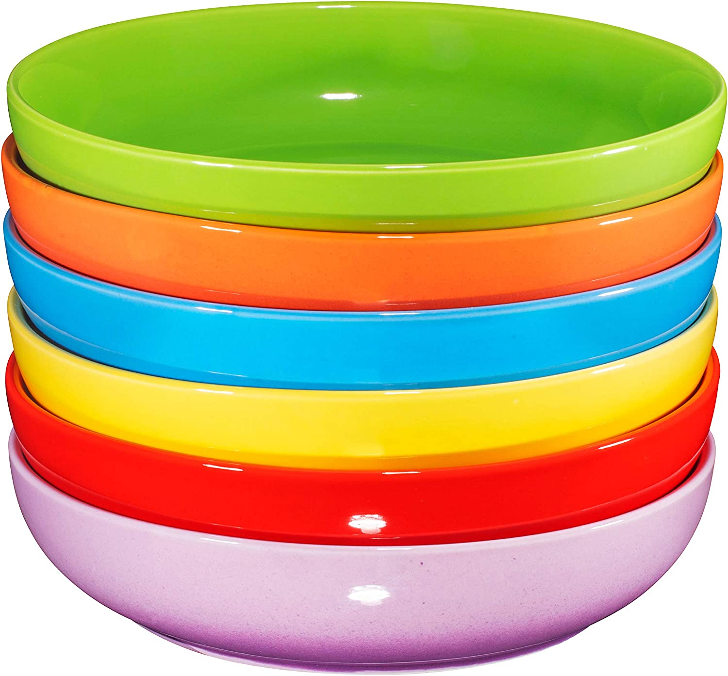 Bruntmor Ceramic Salad, Cereal And Pasta Bowls Set Of 6, Shallow Dinner Bowls That Are Oven, Microwave Oven And Dishwasher Safe, Chip And Scratch Resistant (Multi-Color, 24 oz Each)