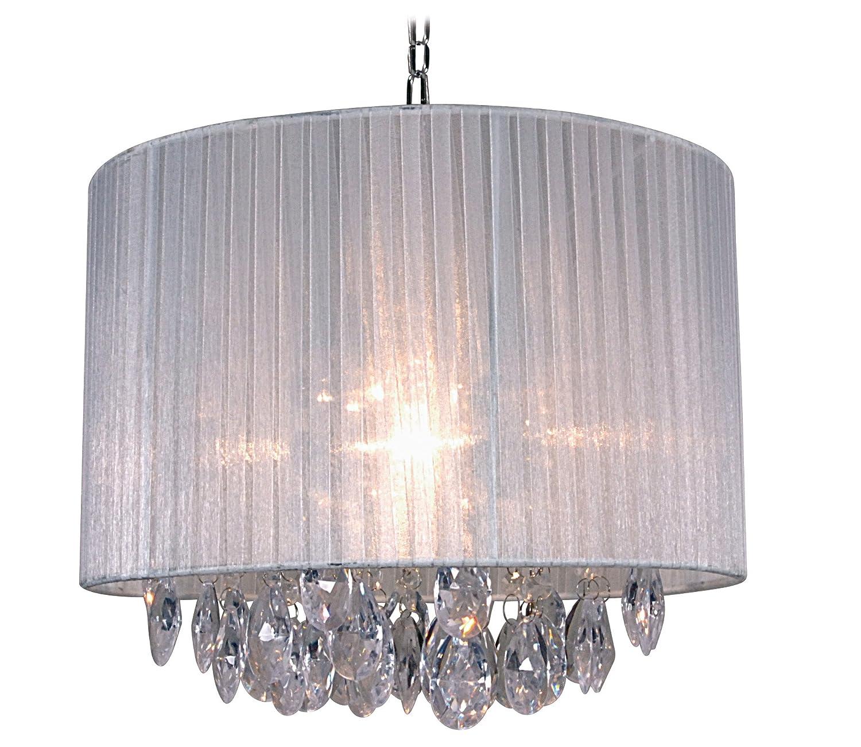 Naeve Leuchten Stoff-Pendelleuchte exklusiv Leuchtmittel h-30 cm d-36 cm Stoff Acryl weiß klar 785323