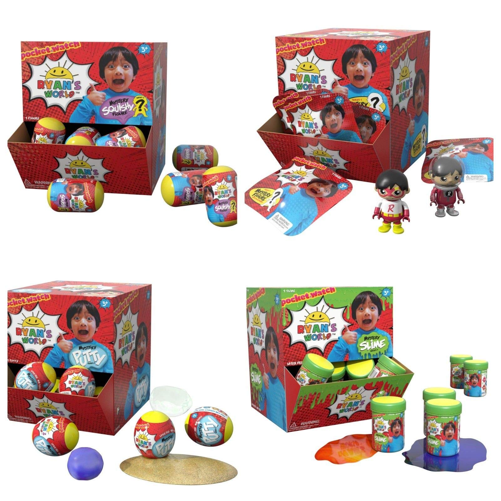 Ryan's World Mystery Egg 1 Slime +1 Putty + 1Squishy +1 Bag Ryan Toy Review Bundle