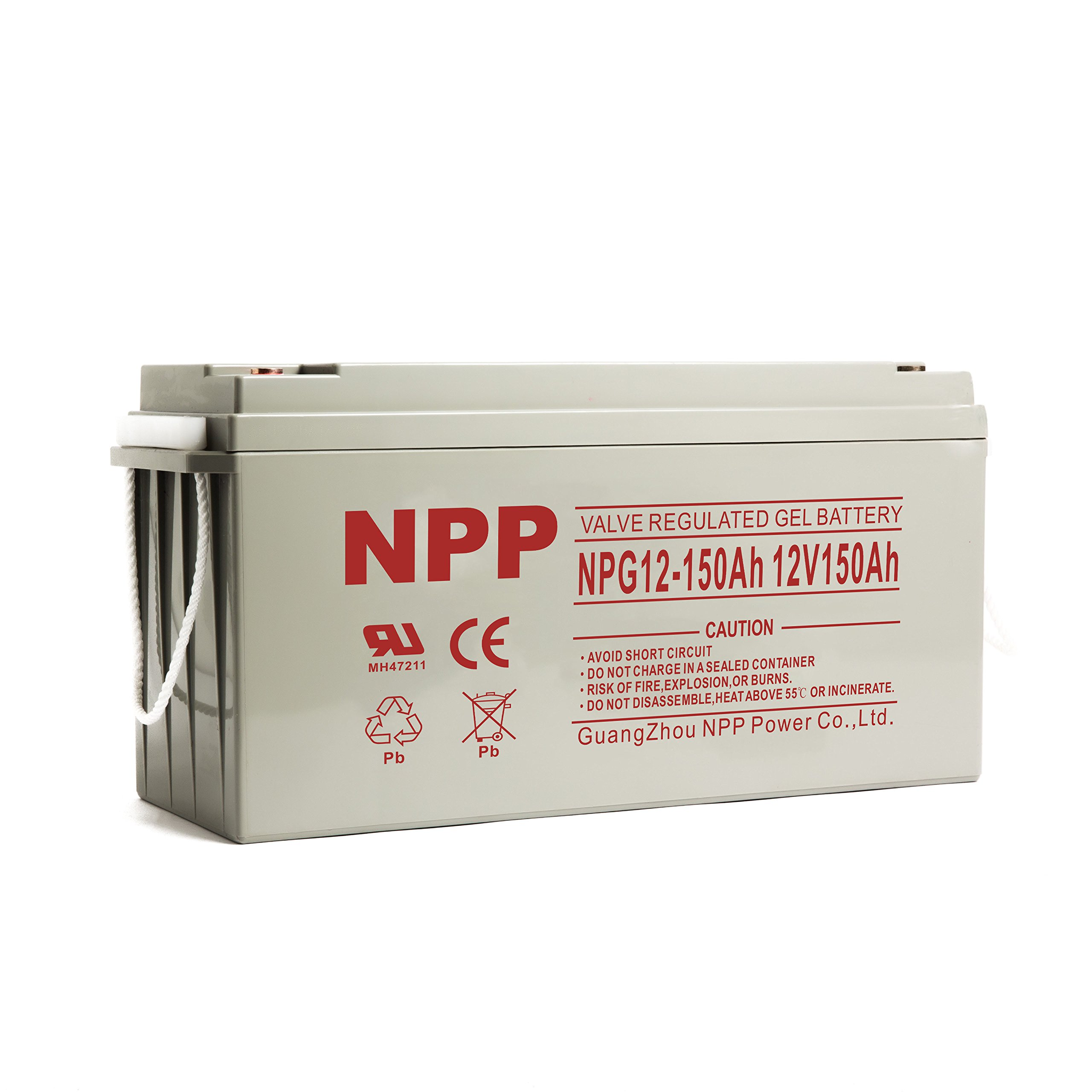 NPP 12V 150 Amp NPG12 150Ah Rechargeable Gel Deep Cycle Battery With Button Style Terminals by NPP