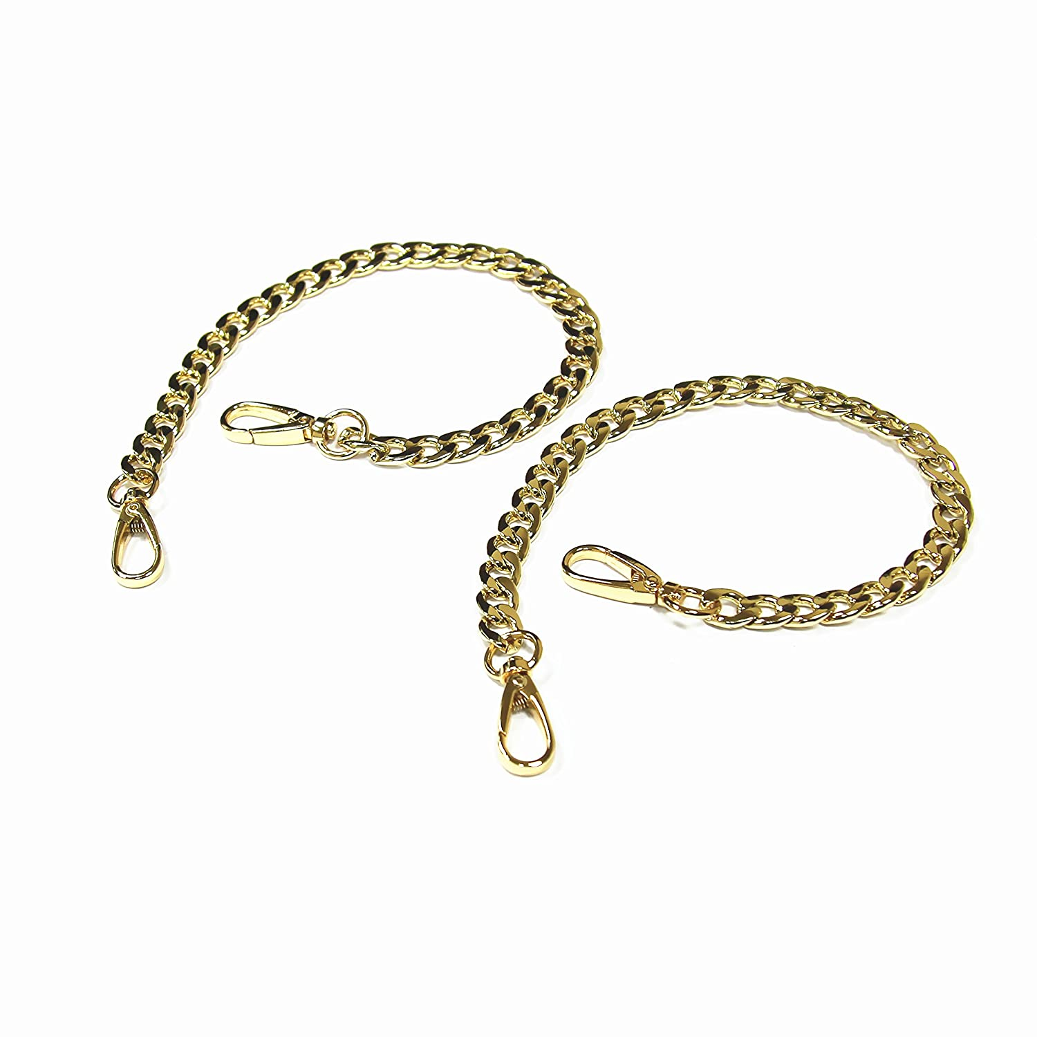 Model Worker 2-Pack 1/2 Wide 15.7 Long DIY Iron Flat Chain Strap Silver Handbag Chains Accessories Purse Clutches Handles,Wrist Straps Replacement Straps, with Metal Buckles (Gold) W-M-Y