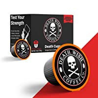 DEATH WISH Death Cups [10 Count] Single Serve Coffee Pods, Dark Roast, Keurig Capsules, K Cups, Capsule Cup, USDA Certified Organic, Fair Trade, Arabica and Robusta Beans
