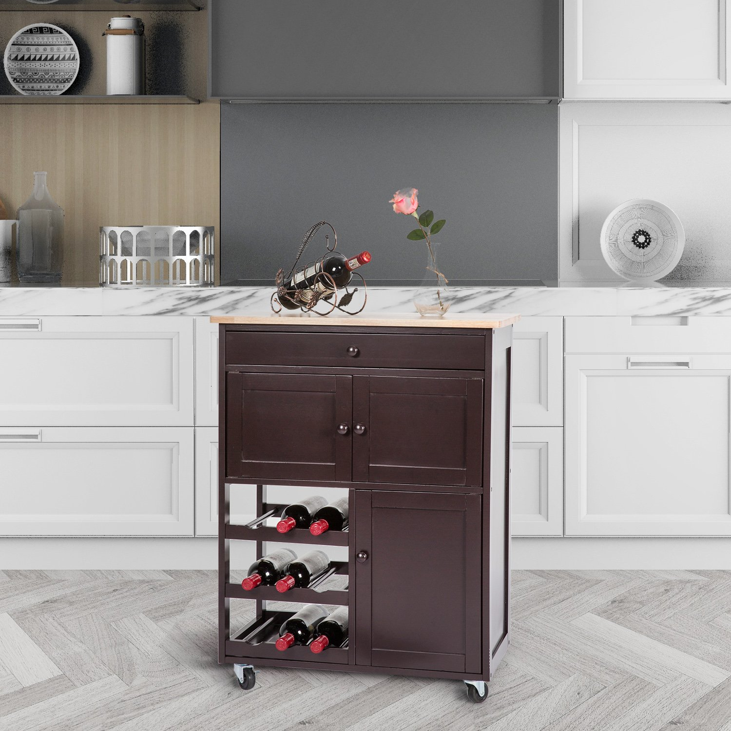 Peachtree Press Inc Multi-Purpose Wood Rolling Wood Kitchen Island Trolley Cart Bamboo Top Storage Cabinet Utility