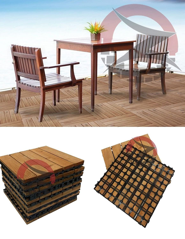 72 X Easy Click Wooden Decking Floor Interlocking Tiles Garden Deck Slab:  Amazon.co.uk: Garden U0026 Outdoors