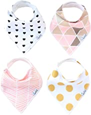 """Baby Bandana Drool Bibs for Drooling and Teething 4 Pack Gift Set For Girls """"Blush Set"""" by Copper Pearl"""