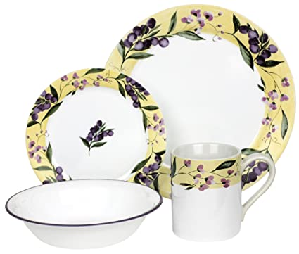 Corelle Livingware Floral Grape 16-Piece Set Service for 4  sc 1 st  Amazon.com & Amazon.com | Corelle Livingware Floral Grape 16-Piece Set Service ...
