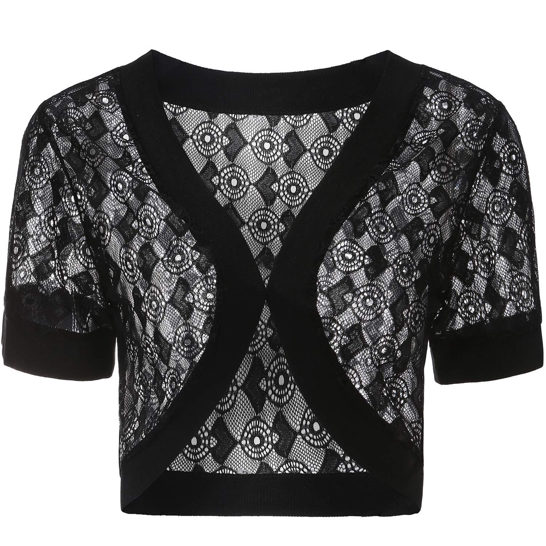Shrug Sweaters for Women Short Sleeve Lace Wedding Plus Size Black White Blue 1x