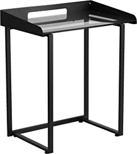 Flash Furniture Contemporary Clear Tempered Glass Desk with Raised Cable Management Border and Black Metal Frame