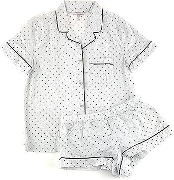 Victoria/'s Secret Women/'s Button-Down Short Sleeve White Pajama Blouse