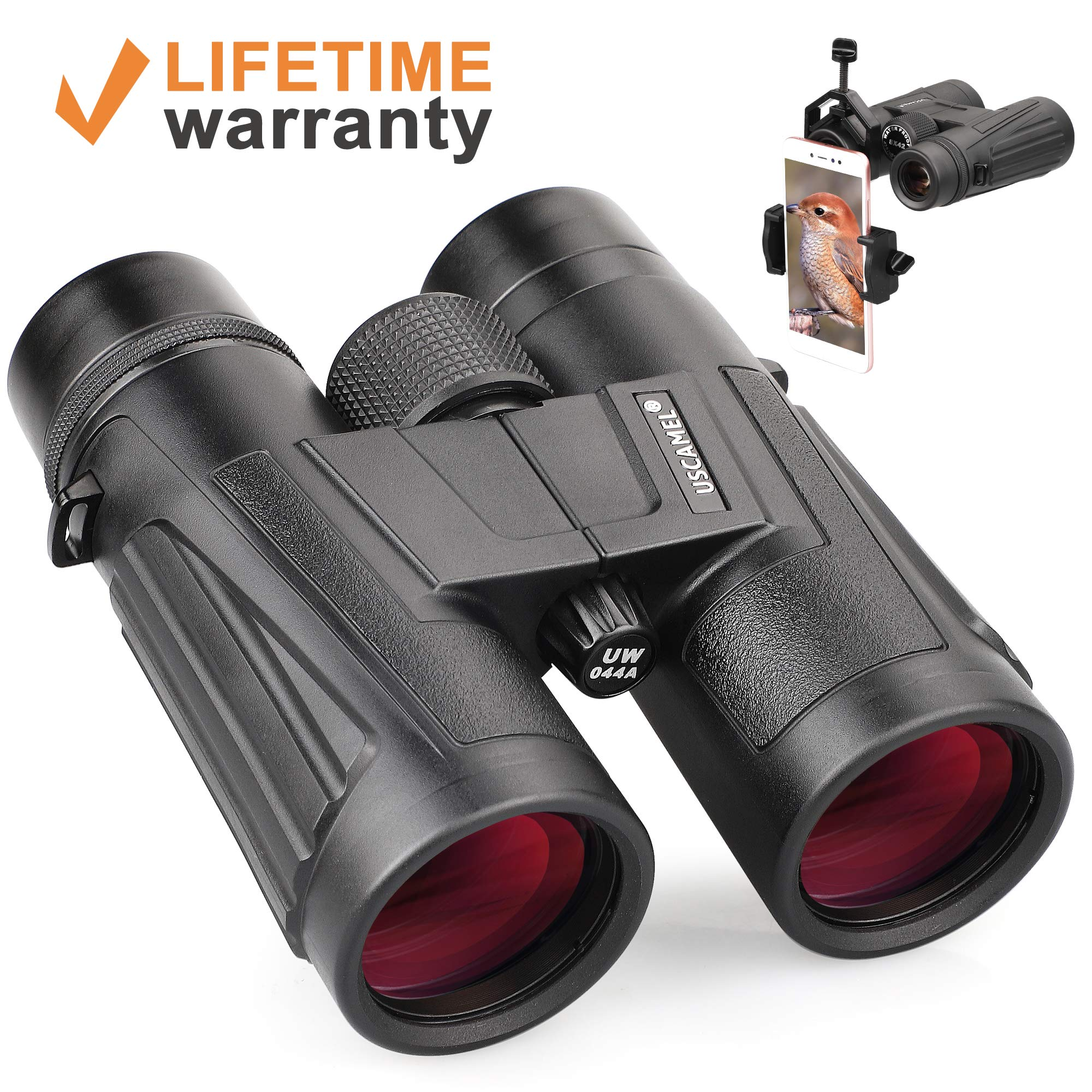 USCAMEL Optics Ultra HD 10X42 Compact Binoculars for Bird Watching with ED Glass, Wide View, Close Focus, Waterproof ,Suitable for Adult Bird Watching, Hunting, Watching Wildlife, Scenery by USCAMEL