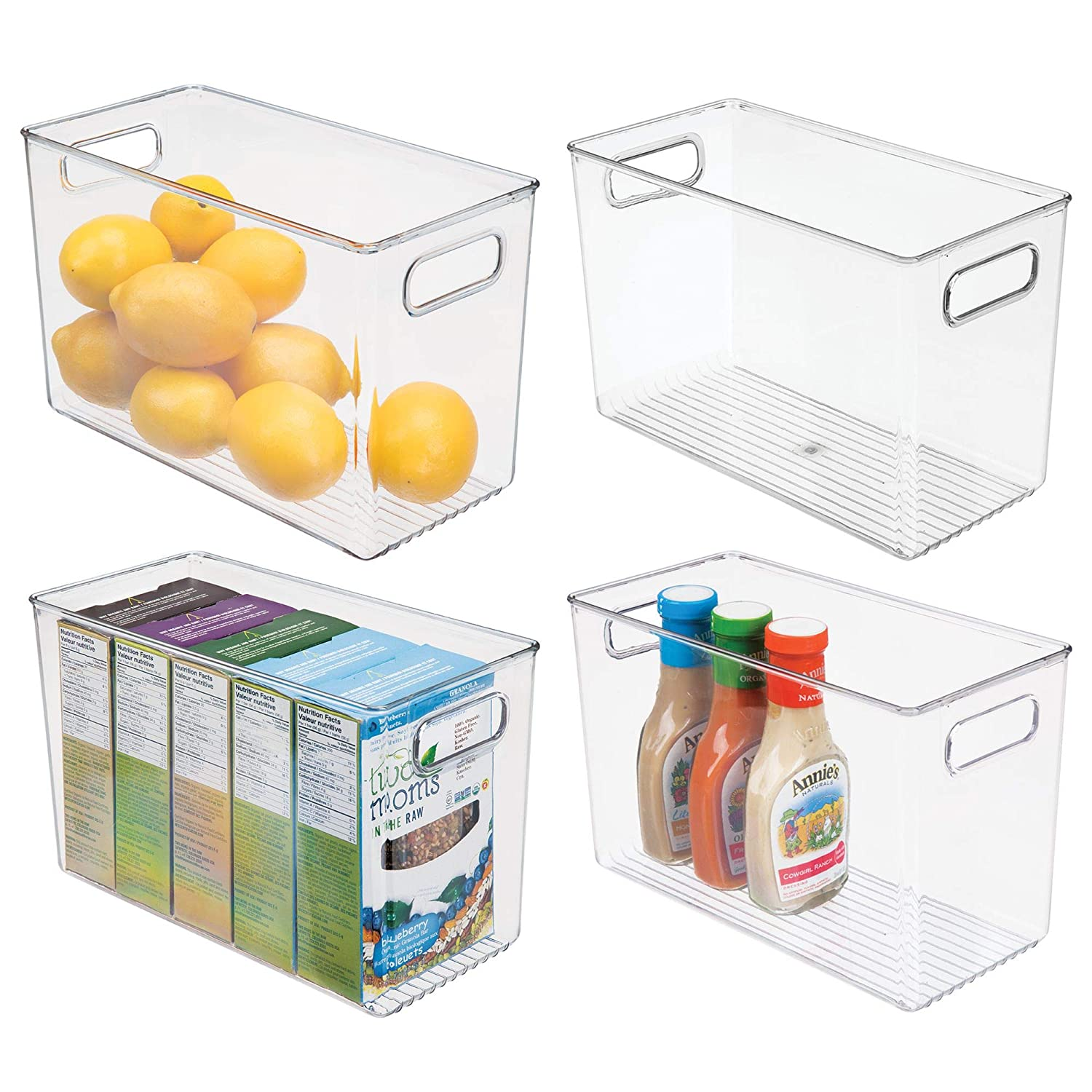 mDesign Plastic Food Storage Container Bin with Handles - for Kitchen, Pantry, Cabinet, Fridge/Freezer - Narrow for Snacks, Produce, Vegetables, Pasta - BPA Free, Food Safe - 4 Pack, Smoke Gray