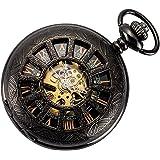 SIBOSUN Skeleton Pocket Watch Special 12-Little-Window Case Design Men Black Mechanical with Chain Box