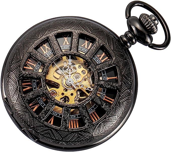 Amazon.com: SIBOSUN Skeleton Pocket Watch Special 12-Little-Window Case Design Men Black Mechanical with Chain Box: Watches