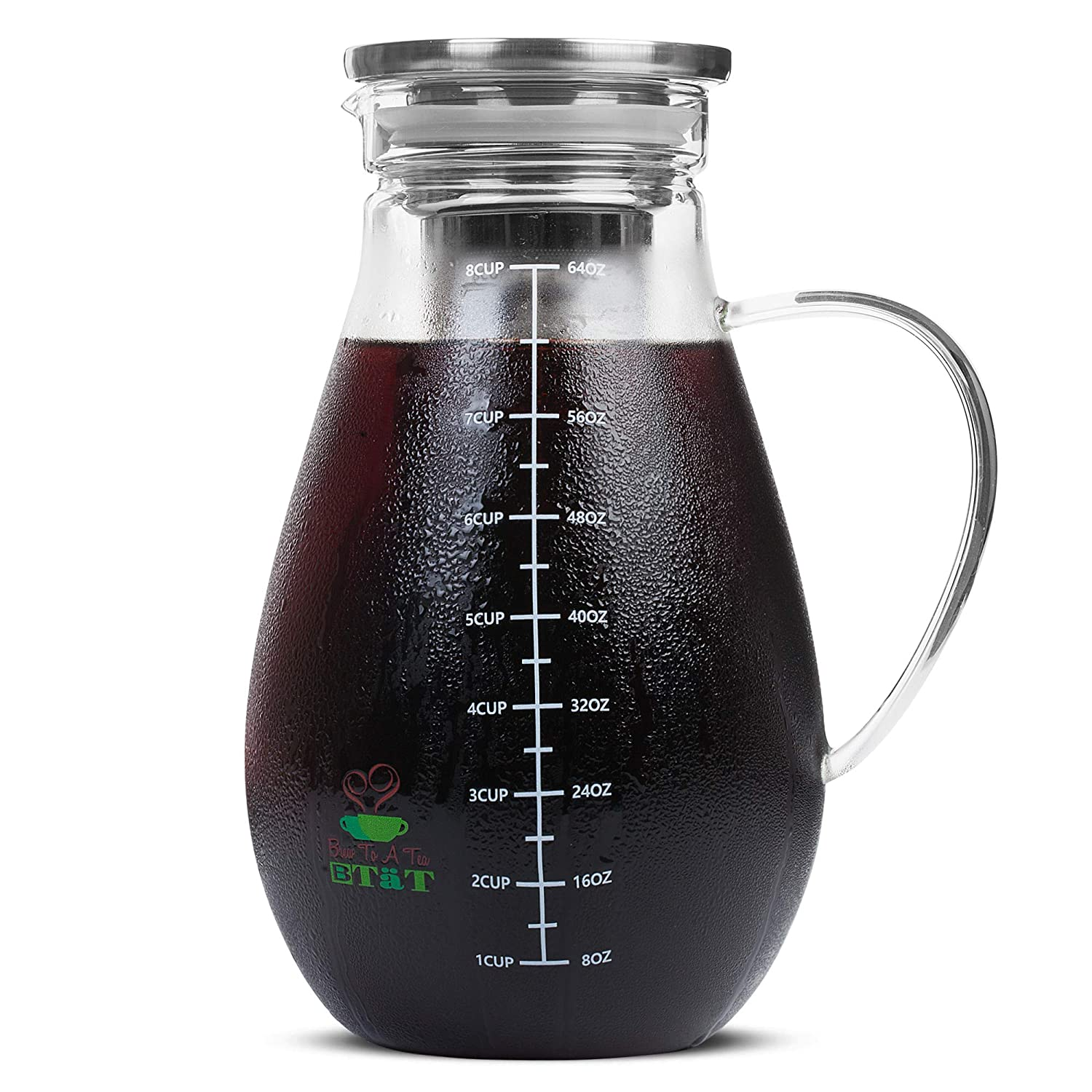 BTäT- Cold Brew Coffee Maker, Iced Coffee Maker, 2 Liter (2 Quart, 64 oz), Iced Tea Maker, Cold Brew Maker, Tea Pitcher, Coffee Accessories, Iced Tea Pitcher, Cold Brew System, Cold Brew Pitcher