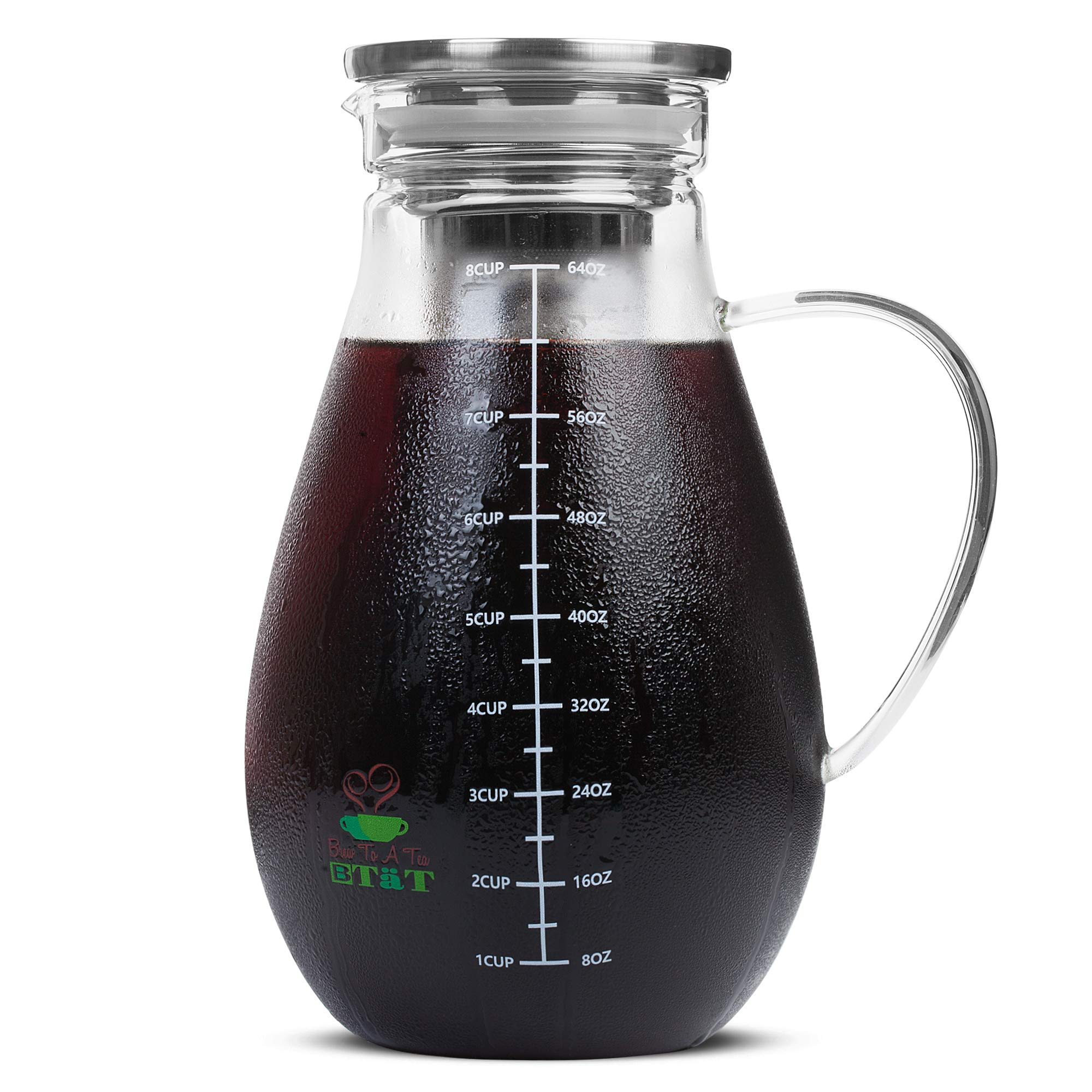 BTäT- Cold Brew Coffee Maker, Iced Coffee Maker, 2 Liter (2 Quart, 64 oz), Iced Tea Maker, Cold Brew Maker, Tea Pitcher, Coffee Accessories, Iced Tea Pitcher, Cold Brew System, Cold Brew Pitcher by Brew To A Tea