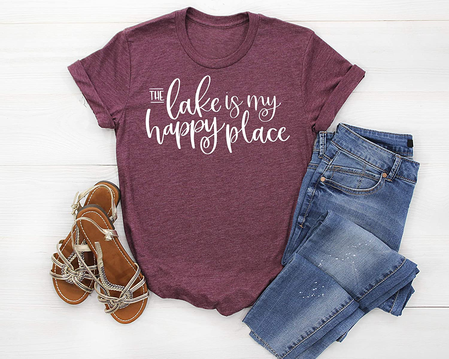 Available in Misses Unisex and Plus size T-Shirt The Lake is my Happy Place Womens Shirt Assorted Colors Womans lake life T Shirt