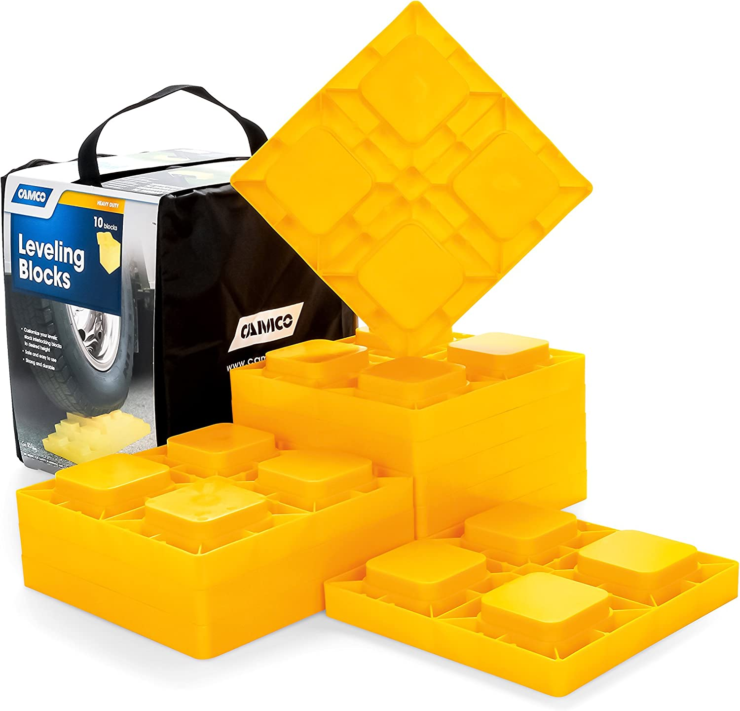Camco 44510 Heavy Duty Leveling Blocks, Ideal For Leveling Single and Dual Wheels, Hydraulic Jacks, Tongue Jacks and Tandem Axles (10 Pack, Frustration-Free Packaging): Automotive