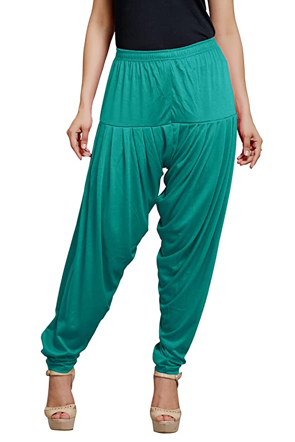 Goodtry Women's patiyala Free Size-Rama Blue Women's Churidar & Salwar Bottoms at amazon