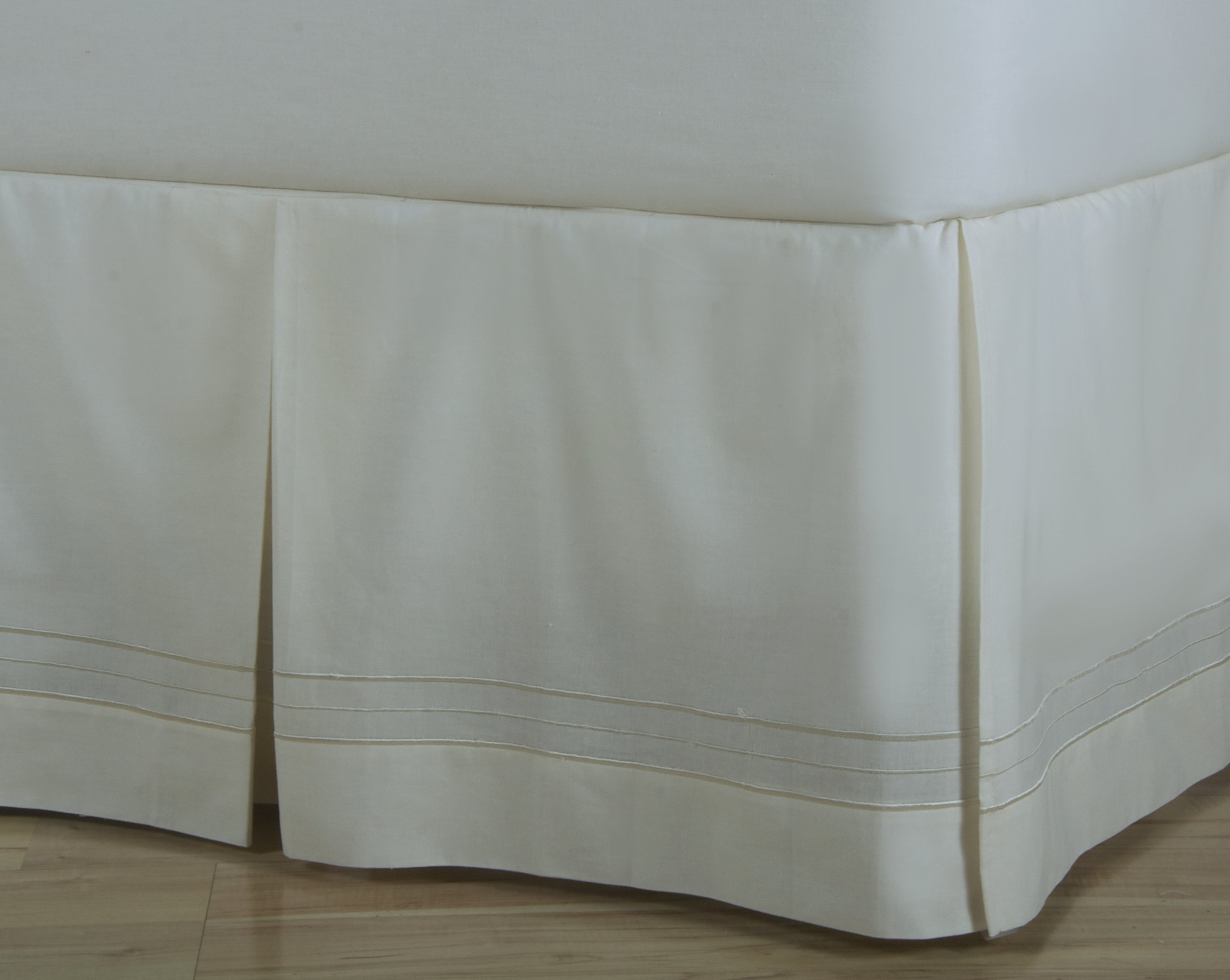 D. Kwitman & Son Hotel Stripe Box Pleat 18'' Drop Bed Skirt, Twin, Natural