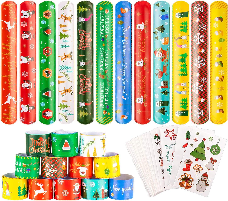Aileam 60PCS Christmas Slap Bracelets Kids Xmas Snap Wristband Party Favors Slap Bracelets Decorations with Santa Claus Snowman Elk Christmas Tree for Party Favors Gift