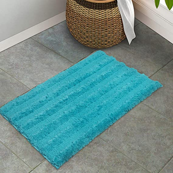 Spaces Swift Dry Turquoise Cotton Bath Mat   Small