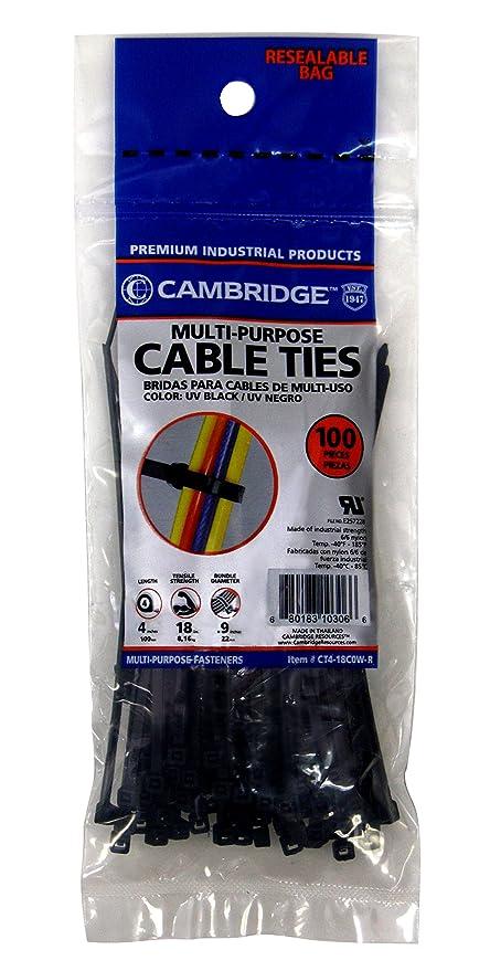 27912e4302b1 Cambridge Multi Purpose Cable Ties Zip Ties 4 Inch 18 Lb 100 Pieces Mini /Lightweight