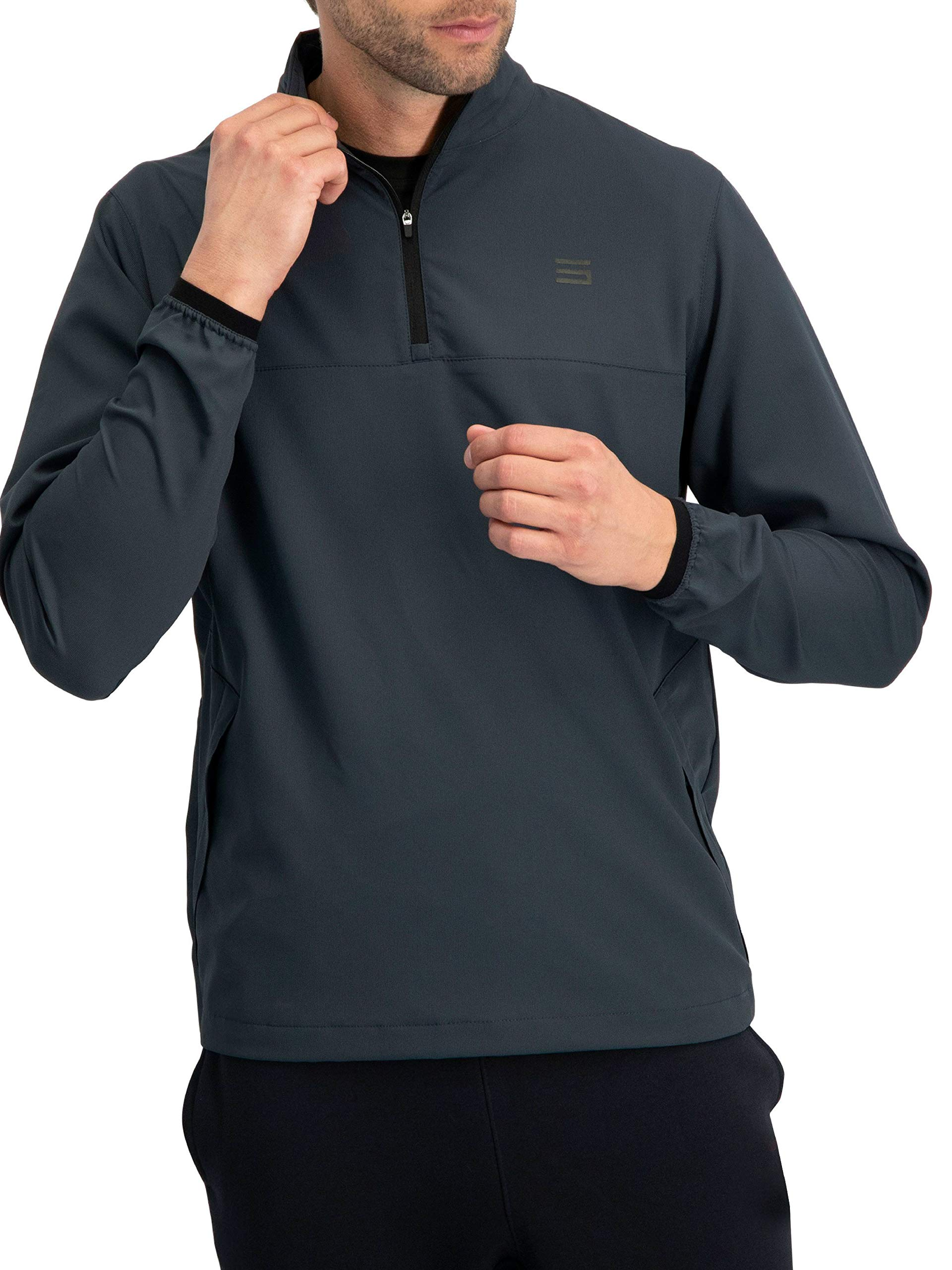 Mens Windbreaker Jackets - Half Zip Golf Pullover Wind Jacket - Vented, Dry Fit Charcoal by Three Sixty Six