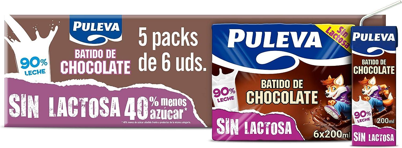 Puleva Batido de Chocolate Sin Lactosa - Caja con 5 packs con 6 minibriks de 200ml: Amazon.es: Alimentación y bebidas