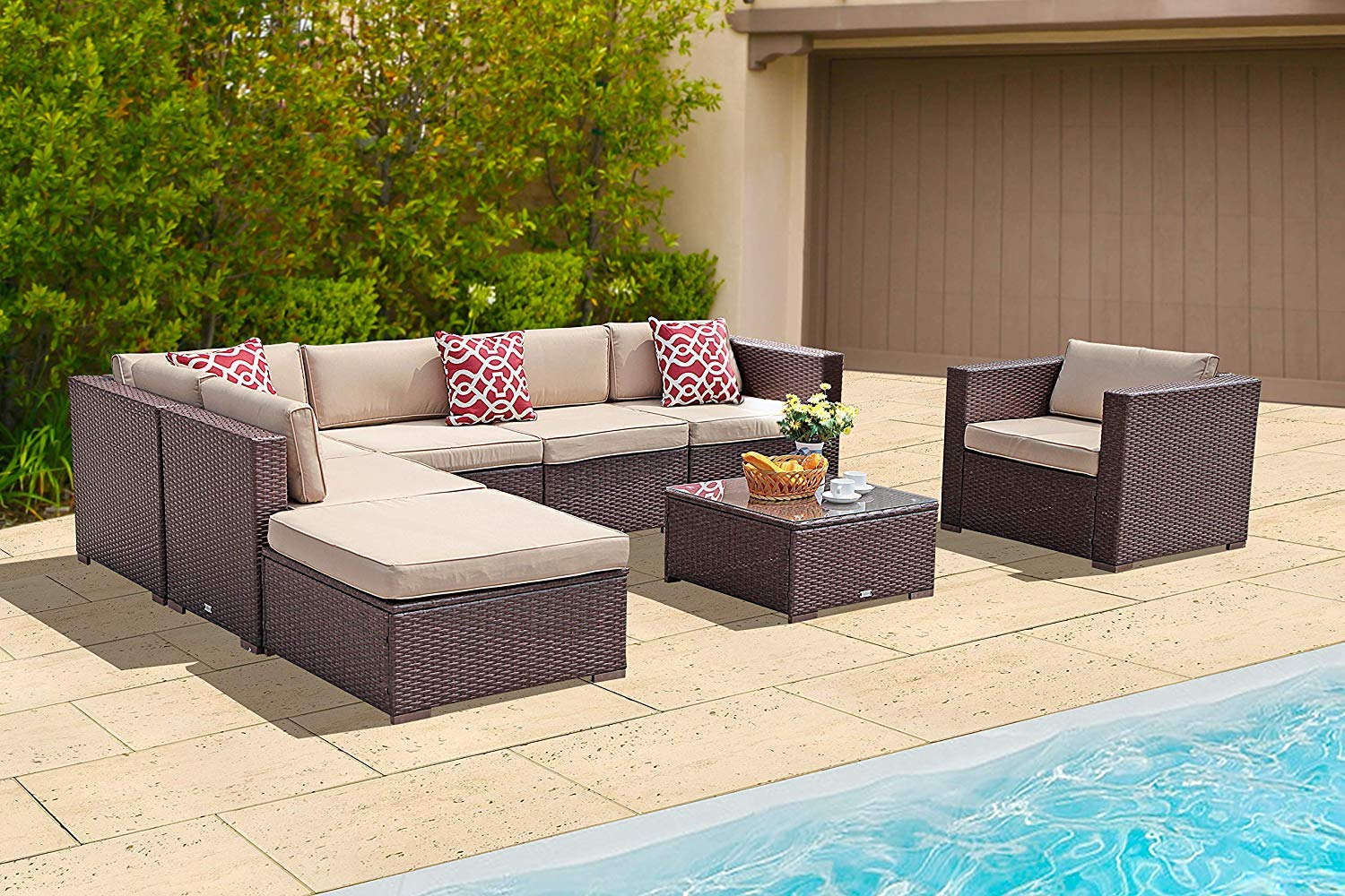 Super Patio 8 Piece Outdoor Furniture Sets, Outdoor Rattan Sectional  Furniture Set Beige Cushions, Espresso Brown PE Wicker