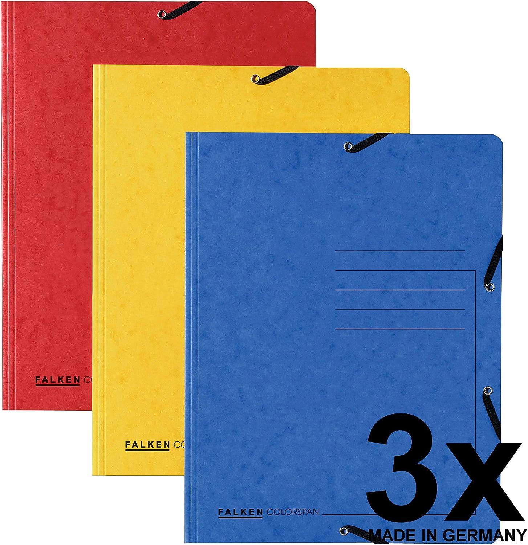 Made in Germany Original Falken 25er Pack Premium Einschlagmappe Aus extra starkem Colorspan-Karton mit 3 Innenklappen DIN A4 gelb Juris-Mappe Sammelmappe Dokumentenmappe f/ür B/üro und Schule