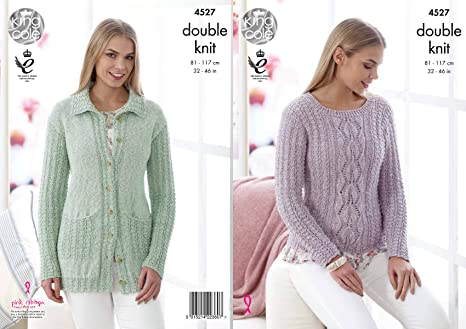 1234ce1cf King Cole 4527 Knitting Pattern Ladies Sweater Cardigan in Authentic DK   Amazon.co.uk  Kitchen   Home