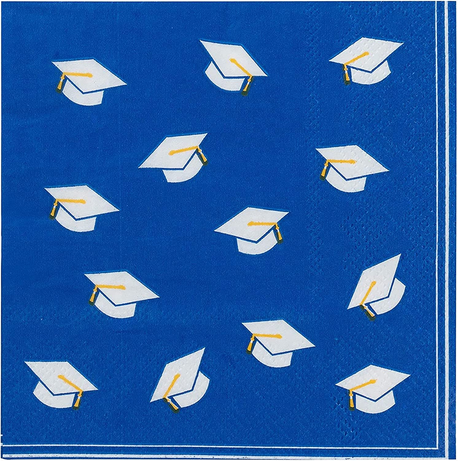 Blue Cocktail Napkins for Graduation Party Supplies (5 x 5 Inches, 100 Pack)