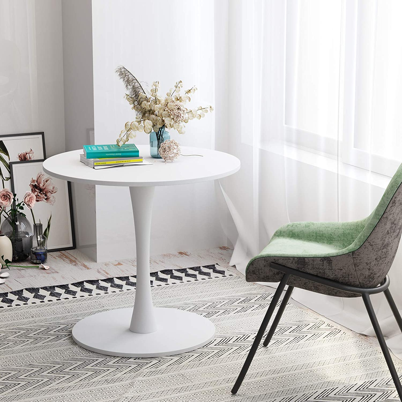 Homfa Tavolino Alto da Salotto Tavolo da Soggiorno Tavolo da Pranzo Tavolo da Riunione Rotondo Tavolino dal Design Moderno con Base in Legno e Metallo Bianco