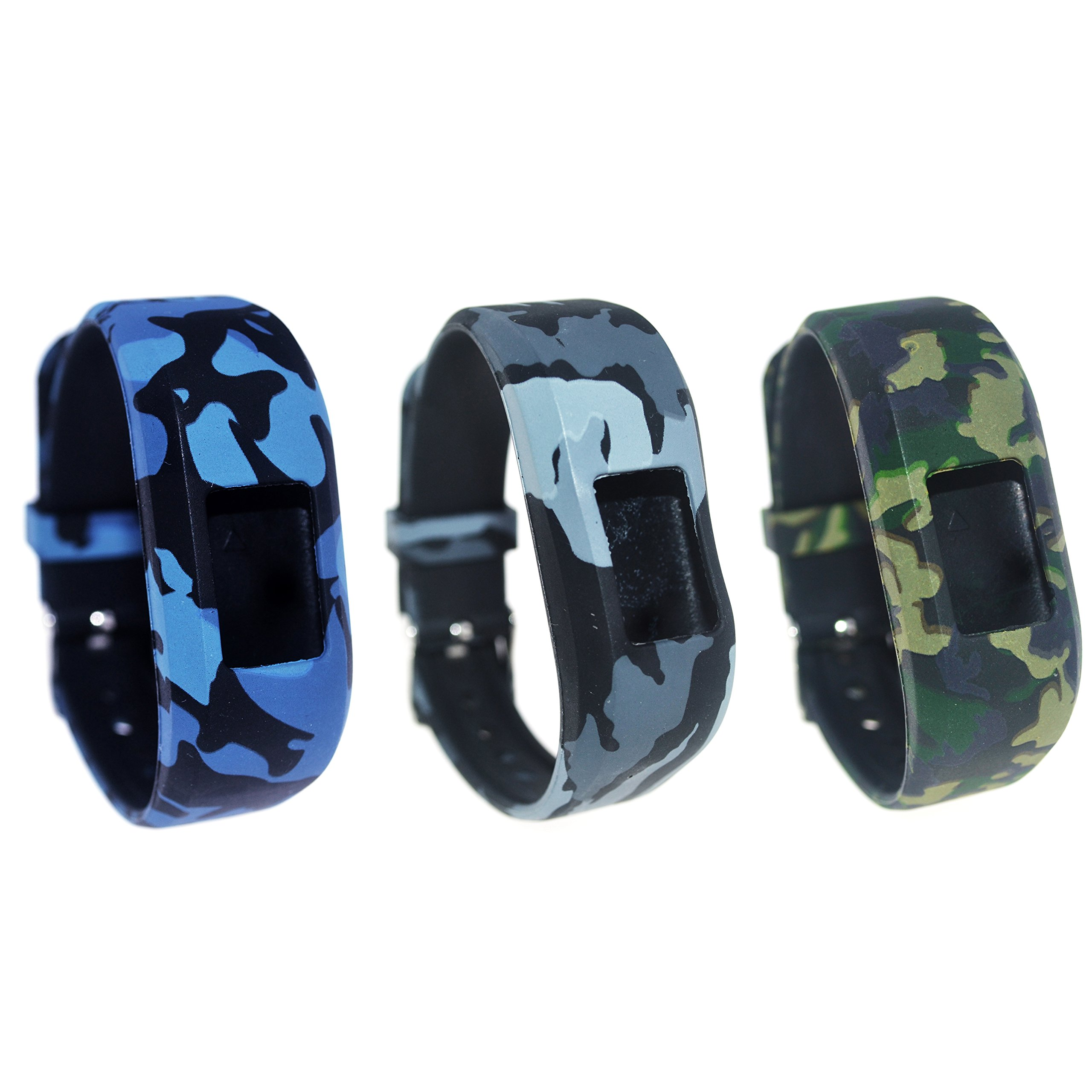TenCloud For Garmin vivofit JR/vivofit JR.2 Tracker Replacement Soft Adjustable Silicone Kids Bands Fit Wrist 5.1in~6.9in [Ages 6+] (Three Soldiers-Mini)