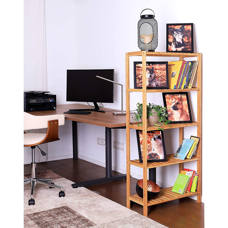 Wohnzimmerregal Bambusregal mit 5 verstellbaren Ablagefl/ächen 60 x 26 x 130 cm Schuhschrank Badezimmerregal K/üchenregal naturfarben zu Regalwand kombinierbar Badregal B/ücherregal Standregal