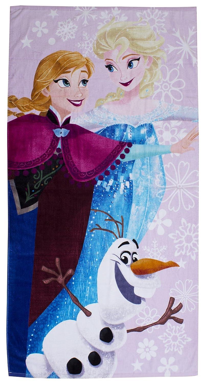 Frozen Girls and Womens Frozen Anna Elsa & Olaf Beach Winter Towel in Purple DFRWNTTW001UK