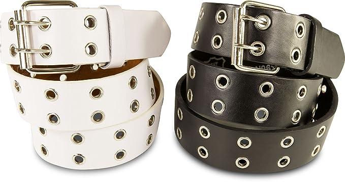 SCAMODA Lot de 2 ceintures clout eacute es en cuir avec rivets pour homme et  femme 1473d85be67