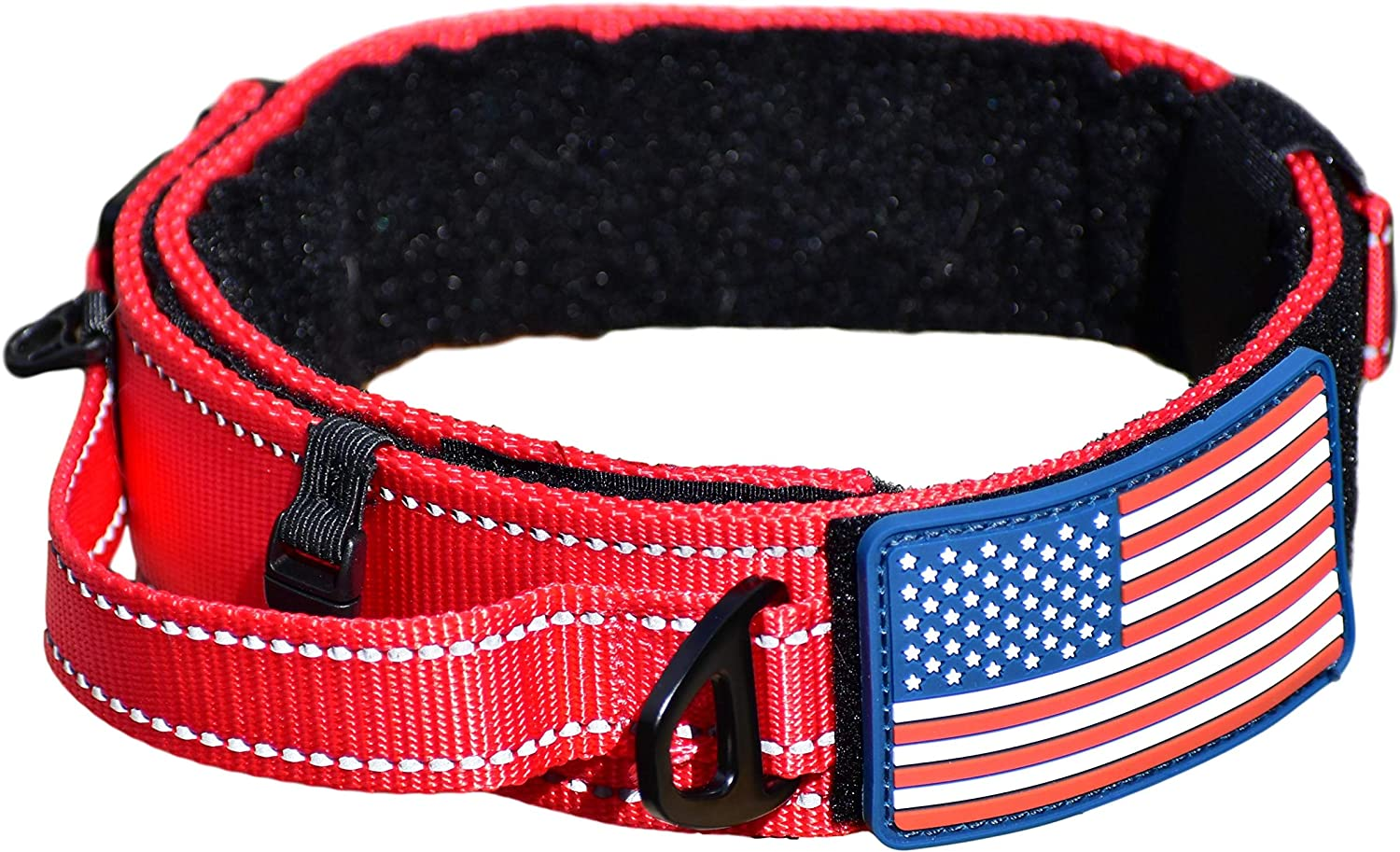 """Diezel Pet Products Dog Collar with Control Handle Quick Release Metal Buckle Heavy Duty Military Style 2"""" Width Nylon with USA Flag for Handling and Training Large Canine Male Or Female K9"""