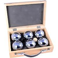 Engelhart - 010205 - Jeu de boules set een mooie Luxe houten boulekoffer voor 3 x 2 verchroomde stalen ballen - Petanque