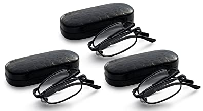 1651d788ef0 Black 3-Pack Folding Reading Glasses - Extra Clear Vision (Includes - Case