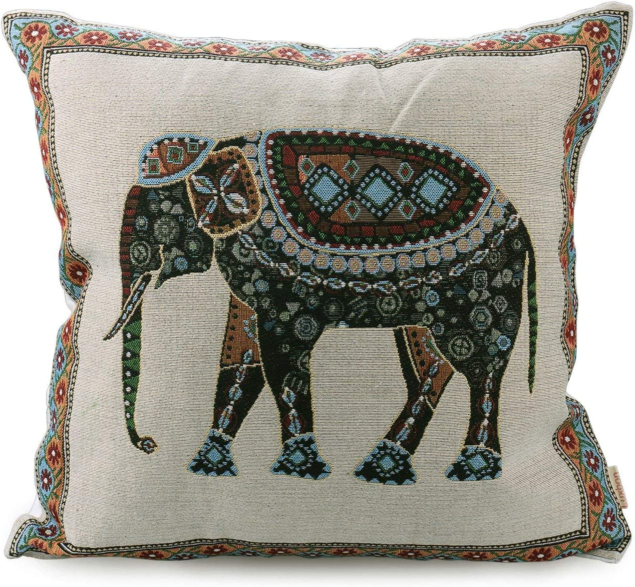 Amazon Com Luxbon Tapestry Jacquard Retro Indian Elephant Throw Pillow Case Elephant Decor Sofa Couch Chair Cushion Cover Decorative 18 X18 45x45cm Home Kitchen