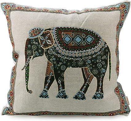 18X18X4  Handmade Square Floor Pillow Cushion Cover  Design Elephant Printed  Multi Indian Tie Dye  Zafu Pillow Covers Art Decorative