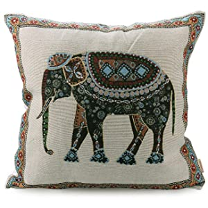 "Luxbon Tapestry Jacquard Retro Indian Elephant Cotton Linen Throw Pillow Case Home Decor Sofa Couch Chair Cushion Cover Animal Decorative 18""X18""/45x45cm"