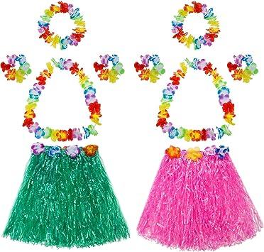 Amazon.com: mtlee elástica hawaiana falda de zacate con ...
